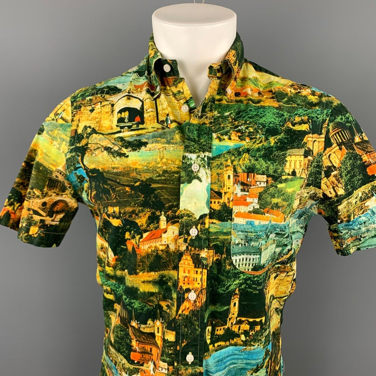 GITMAN VINTAGE short sleeve shirt comes in a multi-color print cotton featuring a button down style and a front pocket. Made in USA.  Excellent Pre-Owned Condition. Marked: S  Measurements:  Shoulder: 17.5 in.  Chest: 38 in.  Sleeve: 9.5 in.