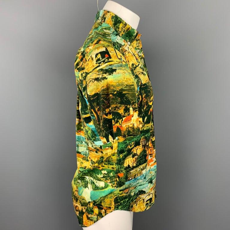 Brown GITMAN VINTAGE Size S Multi-Color Print Cotton Button Down Short Sleeve Shirt For Sale