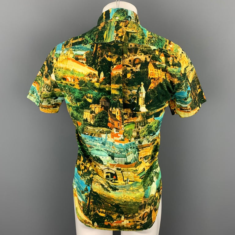 GITMAN VINTAGE Size S Multi-Color Print Cotton Button Down Short Sleeve Shirt In Excellent Condition For Sale In San Francisco, CA
