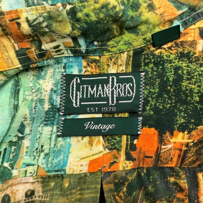 Men's GITMAN VINTAGE Size S Multi-Color Print Cotton Button Down Short Sleeve Shirt For Sale