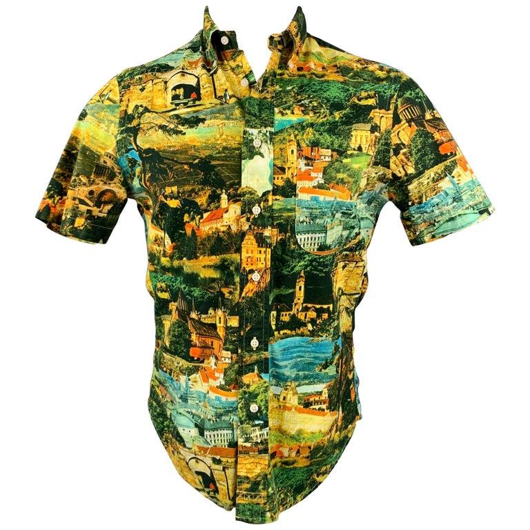 GITMAN VINTAGE Size S Multi-Color Print Cotton Button Down Short Sleeve Shirt For Sale