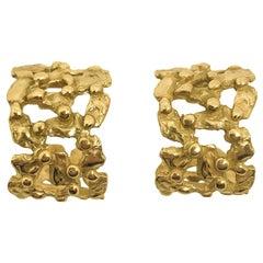 Giulia Barela 24 Karat Fine Gold Plated Bronze 'Hoop Pebbles' Earrings Small