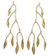 Giulia Barela 24 Karat Fine Gold Plated Bronze 'Mobile Leaves' Earrings Large