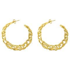 Giulia Barela 24 Karat Fine Gold Plated Bronze 'Pebbles' Hoop Earrings Large