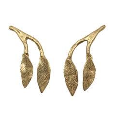 Giulia Barela 24 Karat Gold Plated Bronze 'Mobile Leaves Earrings' Medium