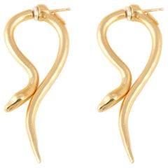 Giulia Barela Hooked Earrings Gold Plated Bronze