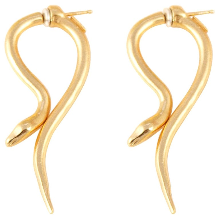 Giulia Barela Hooked Earrings Gold Plated Bronze For Sale