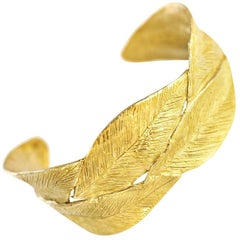 Giulia Barela Jewelry Double Leaves Cuff Bracelet Gold Plated Bronze