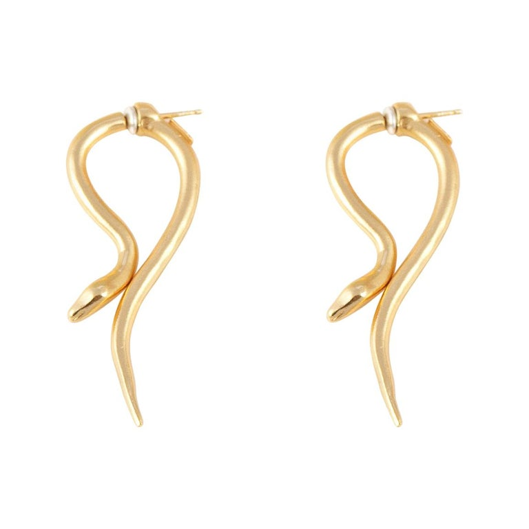 Giulia Barela Jewelry Hooked Earrings 18 Karat Gold For Sale