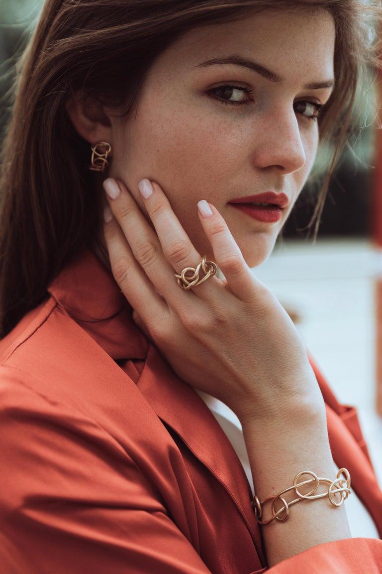 Contemporary Giulia Barela Jewelry Knot Light Earring 18 Karat Gold For Sale