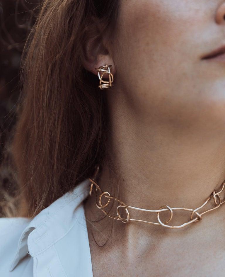 Women's Giulia Barela Jewelry Knot Light Earring 18 Karat Gold For Sale