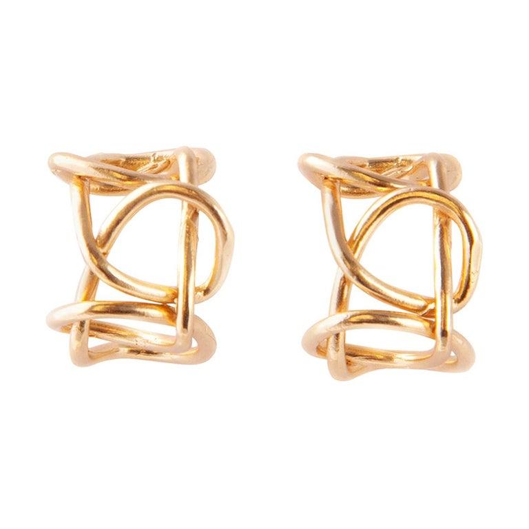 Giulia Barela Jewelry Knot Light Earring 18 Karat Gold For Sale