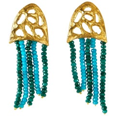 Giulia Barela Jewelry Medusa Earrings 24 Karat Gold Plated Bronze