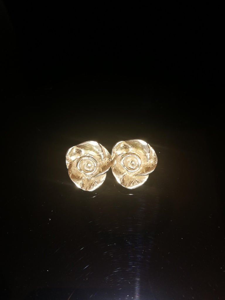 Giulia Barela Jewelry Rose Earrings 18 Karat Gold In New Condition For Sale In Rome, IT