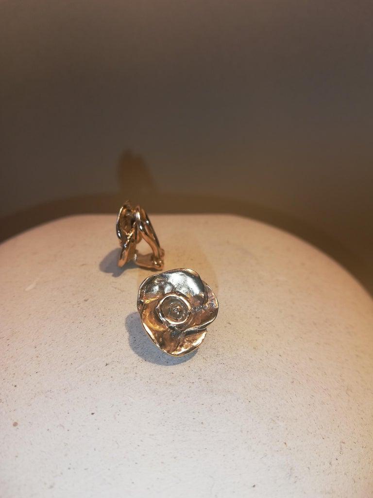 Women's Giulia Barela Jewelry Rose Earrings 18 Karat Gold For Sale