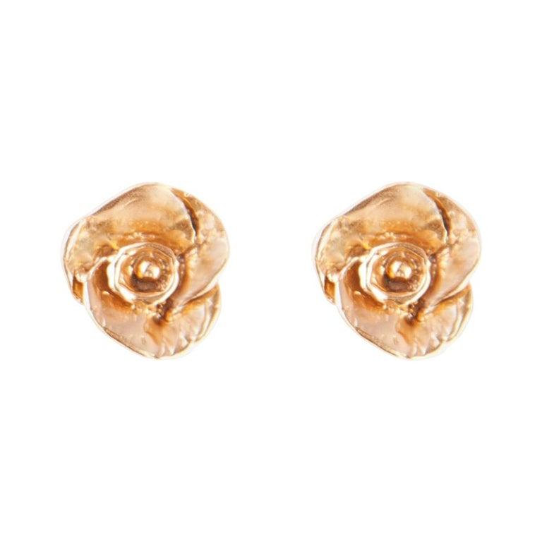 Giulia Barela Jewelry Rose Earrings 18 Karat Gold For Sale