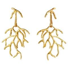 Giulia Barela Jewelry Salix Earrings Gold Plated Bronze