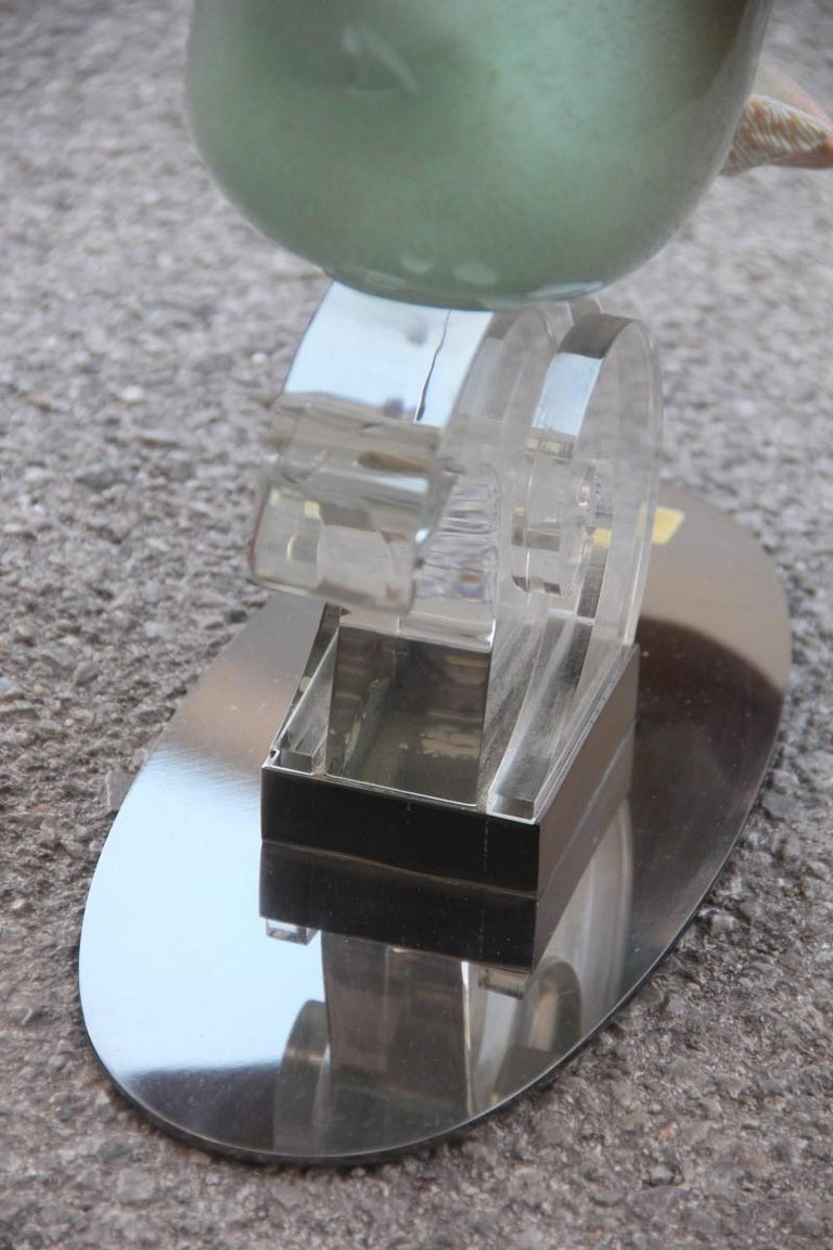 Giulia Mangani Duck in Lucite Porcelain Gold 1970 Silver Metal Made in Italy For Sale 9