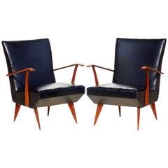 Giulia Vernonesi 1950s Italian Design Midcentury, Pair of Armchairs