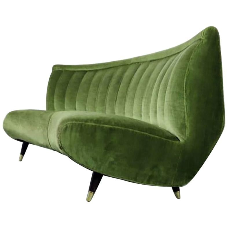 Giulia Veronesi for ISA Rare Green Curved Channel Back Velvet Sofa, Italy, 1950s
