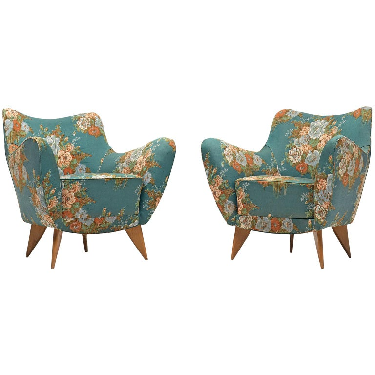 Outstanding Giulia Veronesi Pair Of Perla Lounge Chairs In Original Floral Fabric Squirreltailoven Fun Painted Chair Ideas Images Squirreltailovenorg