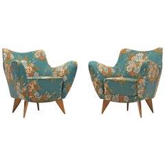 Giulia Veronesi Pair of 'Perla' Lounge Chairs in Original Floral Fabric