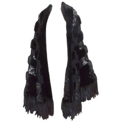 Giuliana Teso Mink Fur Stole with Crochet Panels
