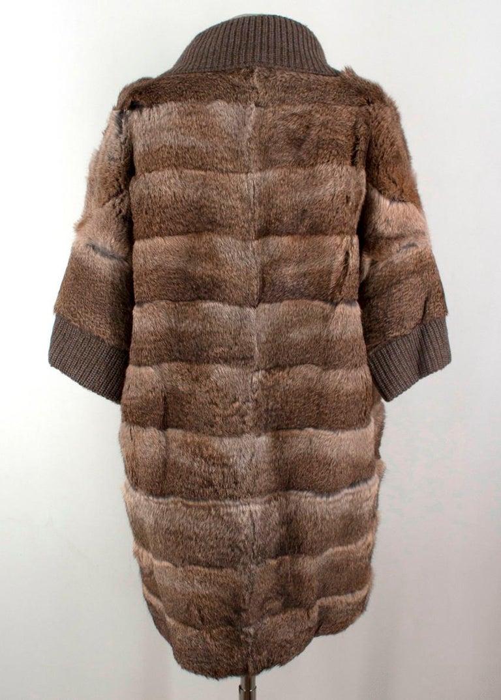 Brown Giuliana Teso Rabbit Fur Coat - Size US 6 For Sale