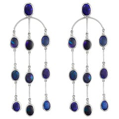 Giulians 18 Karat Black Opal Chandelier Earrings