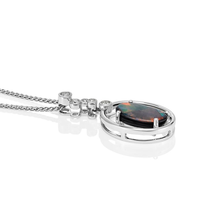 Contemporary Giulians 18k 1.78ct Australian Black Opal and Diamond Pendant Necklace For Sale