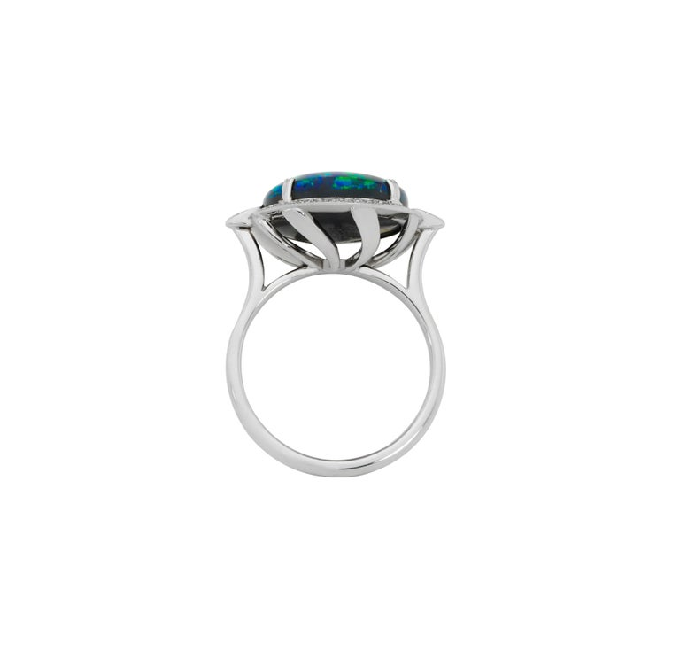 Art Deco Giulians 18K 6.76ct Australian Black Opal and Diamond Halo Ring  For Sale