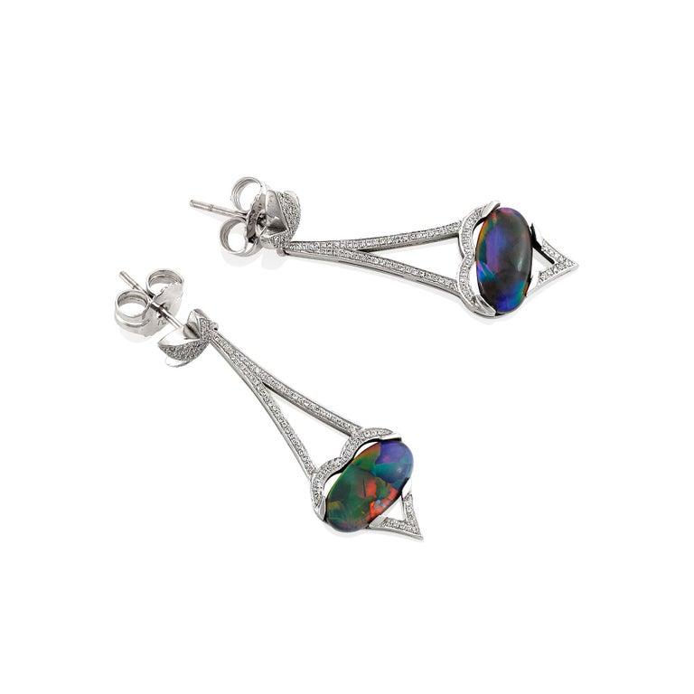 Oval Cut Giulians 18 Karat Art Deco Inspired Australian Black Opal Diamond Drop Earrings For Sale