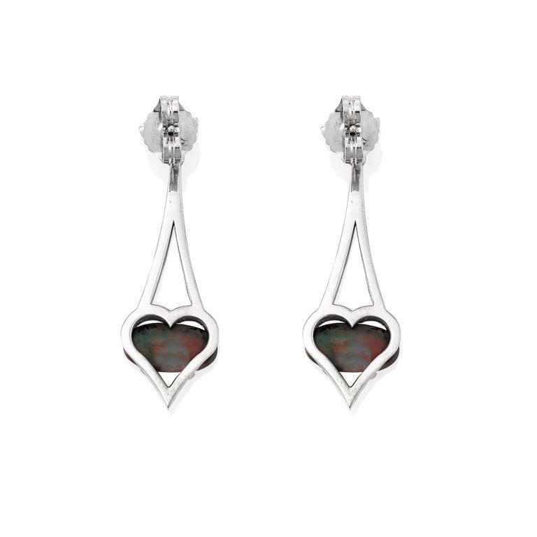 Giulians 18 Karat Art Deco Inspired Australian Black Opal Diamond Drop Earrings In New Condition For Sale In Sydney, NSW