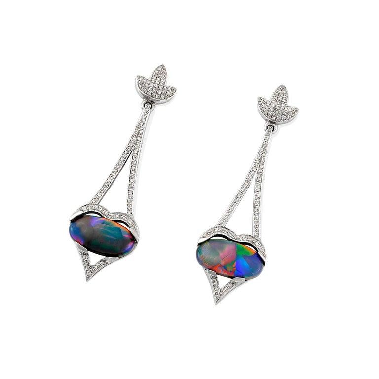 Giulians 18 Karat Art Deco Inspired Australian Black Opal Diamond Drop Earrings For Sale 1
