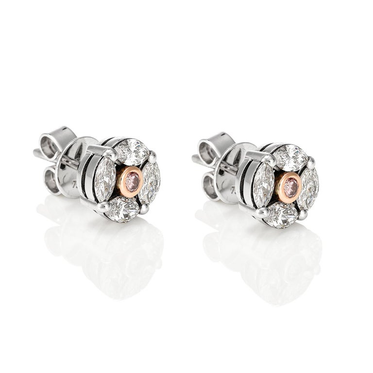 Contemporary Giulians 18k Pink and White Diamond Stud Earrings  For Sale