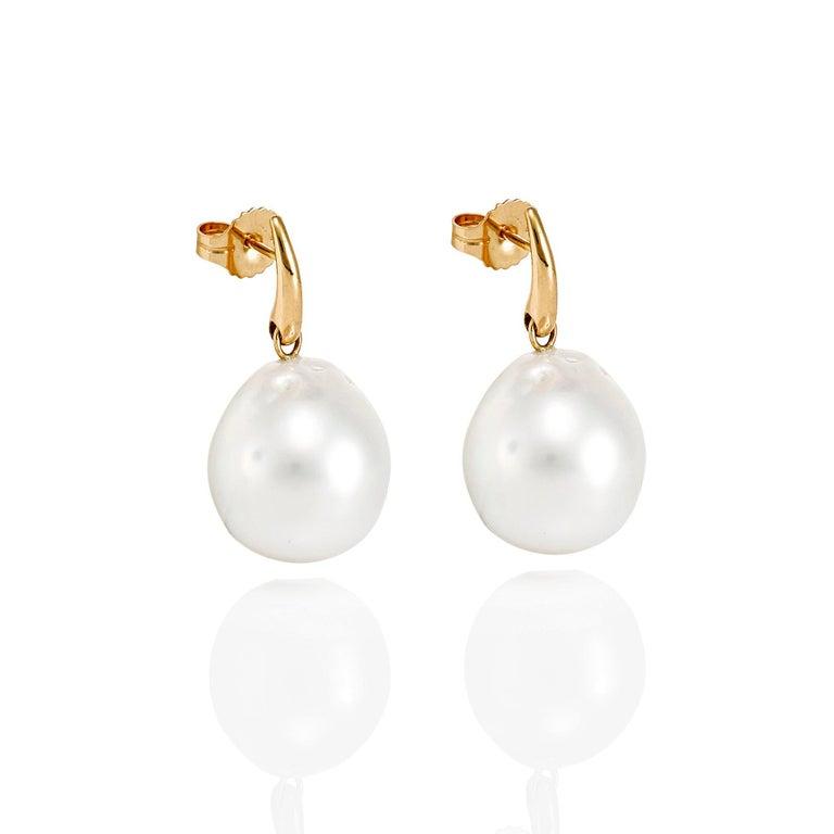 Contemporary Giulians Australian South Sea Baroque Pearl Drop Stud Earrings For Sale