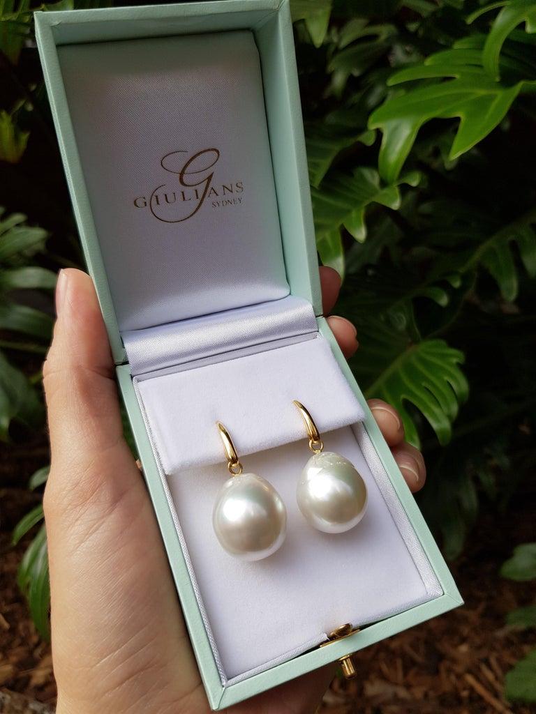 Giulians Australian South Sea Baroque Pearl Drop Stud Earrings In New Condition For Sale In Sydney, NSW
