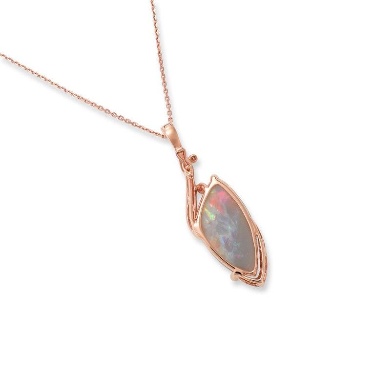 Women's Giulians Contemporary 18k 13.60ct Australian Black Opal and Diamond Necklace For Sale