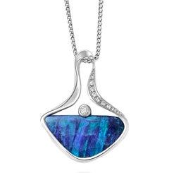 Giulians Contemporary 18k  7.50 Carat Australian Boulder Opal Pendant Necklace