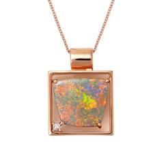 Giulians Contemporary Australian 4.28ct Black Opal and Diamond Necklace Pendant