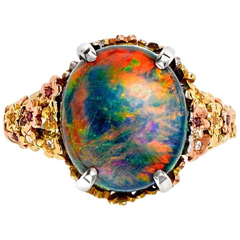 Giulians Floral 18 Karat Gold 7.25 Carat Black Opal Ring ...