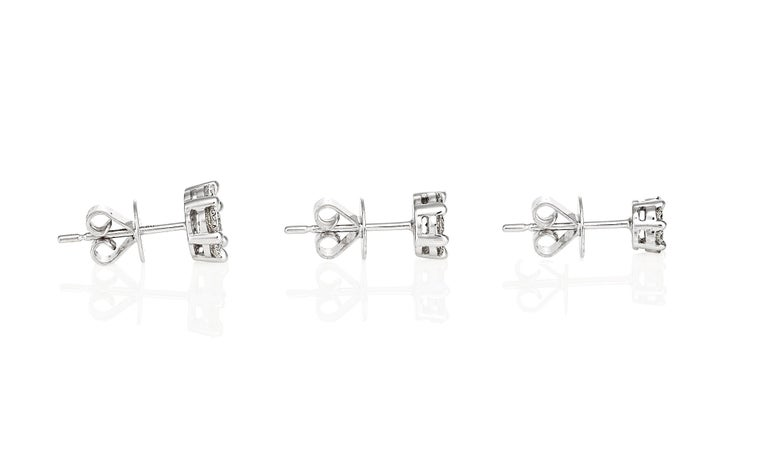 Women's Giulians Large 18K Diamond Set Cluster Stud Earrings For Sale
