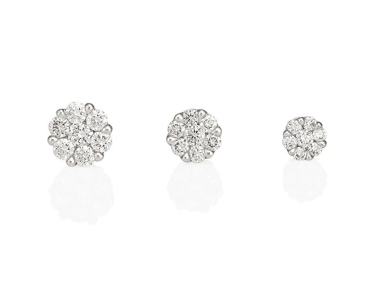 Giulians Medium 18K Diamond Set Cluster Stud Earrings 5