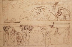 "Sketch for the Parliament Hall ""Thanatos and the Enigma"" - 1900s - Drawing"