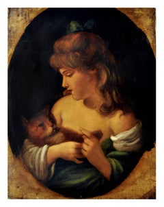 GIRL WITH KITTEN - Italian figurative oil on canvas painting by Giulio Di Sotto