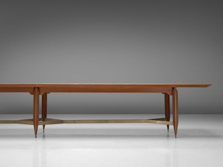 Giulio Moscatelli Long Conference Table in Teak and Metal For Sale 4