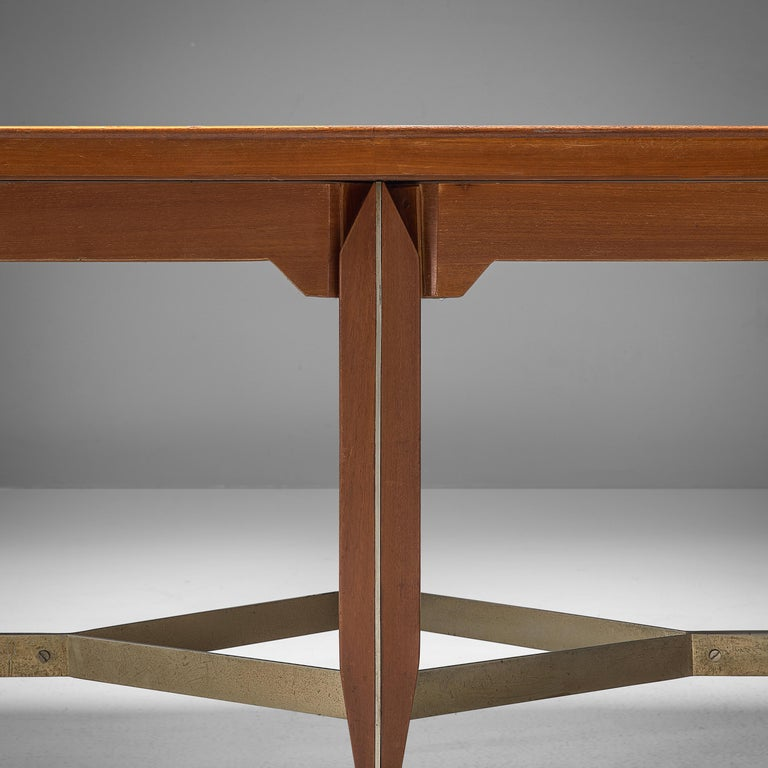 Mid-Century Modern Giulio Moscatelli Long Conference Table in Teak and Metal For Sale