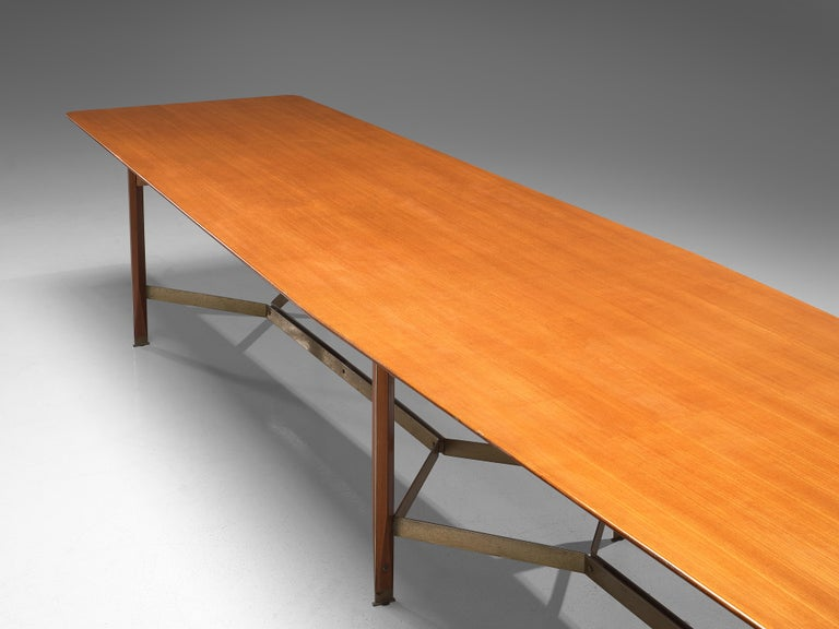 Italian Giulio Moscatelli Long Conference Table in Teak and Metal For Sale