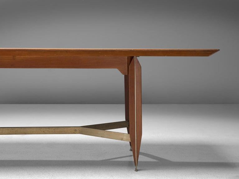 Giulio Moscatelli Long Conference Table in Teak and Metal In Good Condition For Sale In Waalwijk, NL