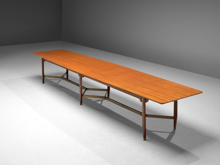 Late 20th Century Giulio Moscatelli Long Conference Table in Teak and Metal For Sale
